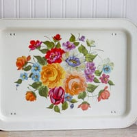 Vintage Floral Lap Tray, Bright Flowers, Folding Metal Tray, Shabby Cottage Chic Decor, French Country Guest Room
