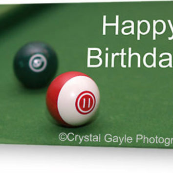 Teenager Birthday Card Pool Table Balls Striped Orange Blue Purple Burgandy Red Green Billiard Game Greeting Note Cards