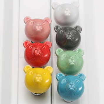New Colorful Ceramic Bear Door Handles Kitchen Cabinet Cupboard Drawer Wardrobe Knobs Pulls 32*38*32mm