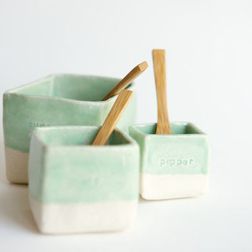 Ceramic Cellars in Mint- Salt, Pepper, and Sugar (made to order)