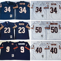 Cheap Throwback 34 Walter Payton Jersey Sale Man 23 Devin Hester 40 Gale Sayers 50 Mike Singletary 9 Jim McMahon Team Color Navy Blue White