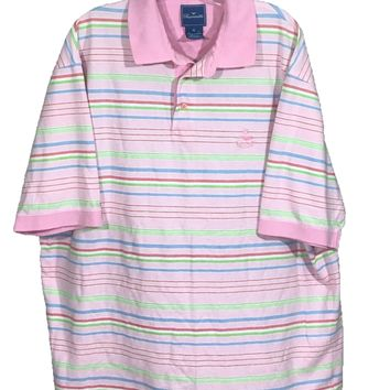 Faconnable Pink Striped Sewn Logo All Cotton Knit Polo Casual Shirt Mens XL - Preowned