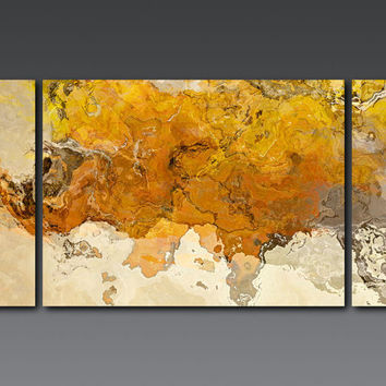 "Large triptych abstract expressionism stretched canvas print, 30x60 in golden yellow, from abstract painting ""Early This Morning"""