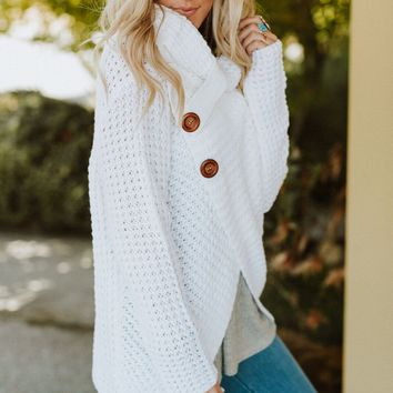 Presley Waffle Knit Button Sweater - Ivory