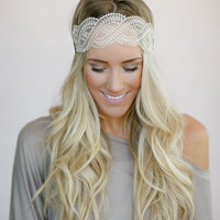 Braided Ivory Lace Headband