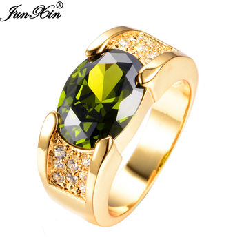 Peridot Sapphire Male Ring 10KT Yellow  Filled Jewelry Wedding Rings For Men  RY0068