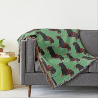 Dachshunds with Red Bows Green Throw Blanket