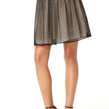 bebe Womens Dotted Tulle Skirt Black
