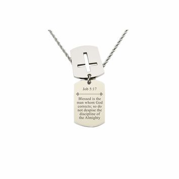 Mens Scripture Double Tag Necklace - Job 5:17