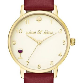 kate spade metro wine and dine leather strap watch, 34mm | Nordstrom