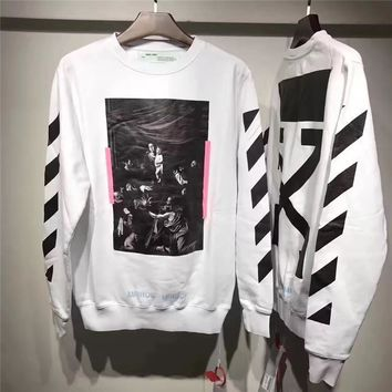 Off Whitetrond Life Religious Printing Arrow Sweater S Xl