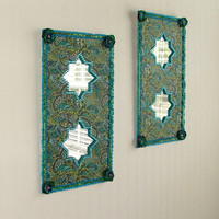 Set of Two Peacock Paisley Moroccan Style Wall Mirrors - Free Shipping