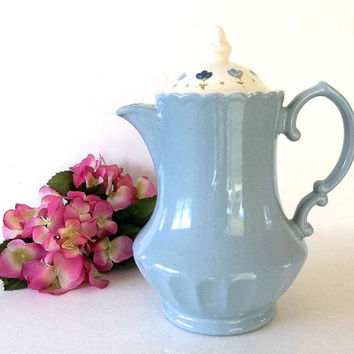 Vintage BlueTea Pot Coffee Pot blue flower lid, large ceramic teapot, French country pot, tea party, light blue pottery
