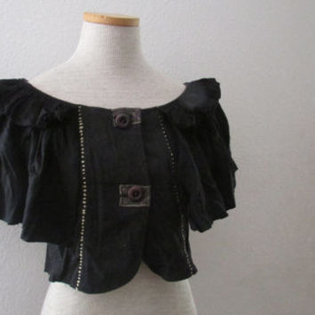 14-1105 Ruffled Wool Capelet / Wool Shrug / Black Wool Ruffle Sleeve Jacket / Charcoal Gray Wool / Holy G