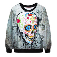hot Stylish Women/men 3D digital printing skull bone series O-neck clothes hedging sweatshirt lovers Highly Recommended