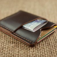 Front Pocket Wallet // Chocolate Slim Leather Wallet // Mens Womens Credit Card Holder // Wallet with Initials