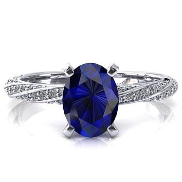 Elysia Oval Blue Sapphire 4 Prong 3/4 Eternity Diamond Accent Ring