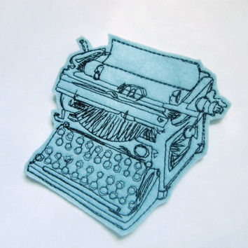 Typewriter Applique Iron On Version in Baby Blue
