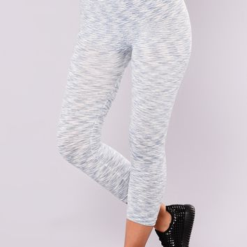 Heathered Two Toned Active Leggings - Slate/White