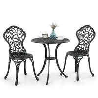 iKayaa 3PCS Modern Outdoor Patio Bistro Set Aluminum Porch Balcony Garden Table & Chairs Set Furniture Leaves Design US/UK Stock