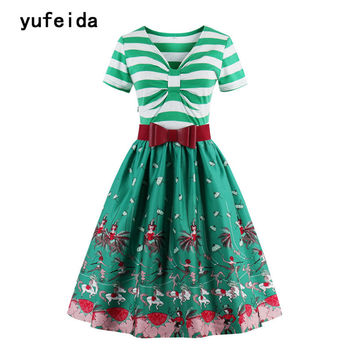 YUFEIDA Women Vintage Print Dress Retro 1950s 1960s Hepburn Style Patchwork Female Party Short Sleeves Summer Stripe Sundress