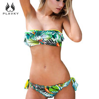 Female Sexy Halter Push Up Thong Bandeau Biquini Ruffled Swimsuit