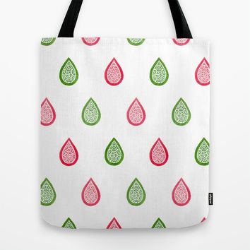 Pink and green raindrops Tote Bag by Savousepate