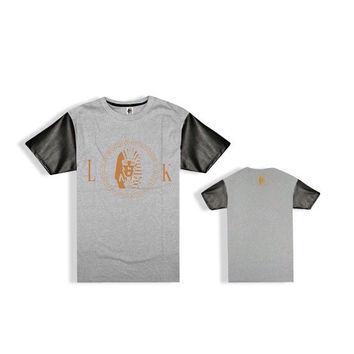 Last Kings Gold Logo Leather Sleeve T-Shirt