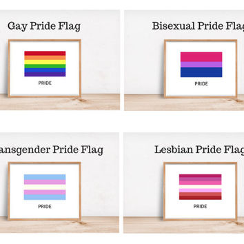 LGBTQIA Pride Flag Minimalist Art Prints /// Radical Self Love, Feminist Gifts