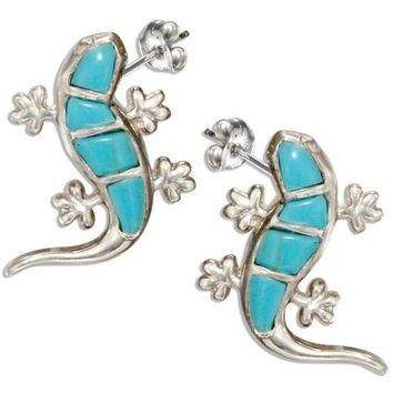 Simulated Turquoise Gecko Earrings