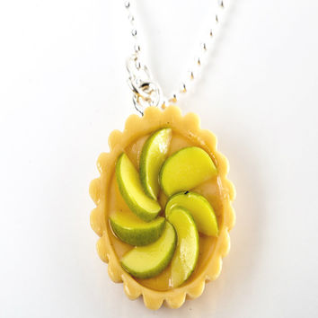 green apple tart necklace