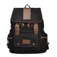 Jeansian Men's Womens Unisex Canvas BackPack School Bag Black BG005