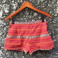 Boho Shorts Tribal Festival Colorful winter fall fashion Hmong Hippies bohemian Hill tribe Clothing Ikat Ethnic Woven Fabric girl red orange