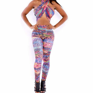 Abstract Print Wrapped Top and Pants