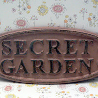 Secret Garden Gate Wall Plaque Sign Cast Iron Distressed Shabby Chic Dusty Rose Blush Oval Oblong Ornate Scroll Accented Wall Door Sign