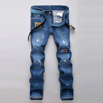 Ripped Holes Casual Slim Pants Jeans [6541771011]