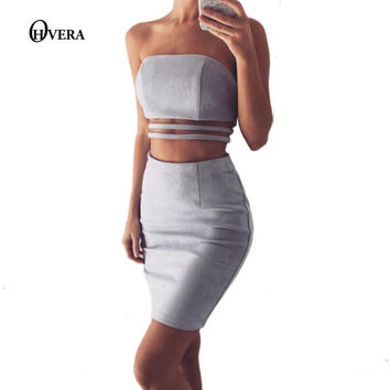 Hot Sale Suede Off The Shoulder Solid Bandage Bodycon Dress 2017 Autumn Sleeveless Two Piece Set Party Dresses Christmas Vestido