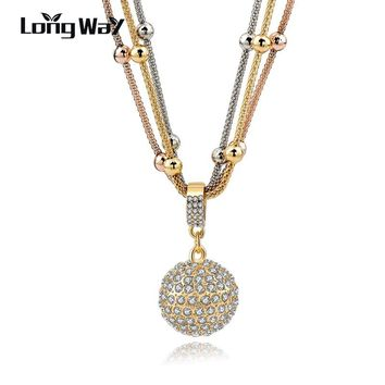 LongWay Hot Sale Women Long Necklace Gold Color Chain Necklace Full Rhinestone Ball Pendant Necklace SNE140451