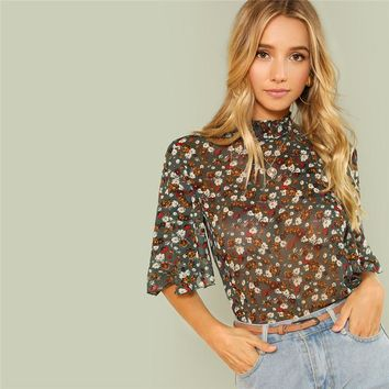 Multicolor Weekend Casual Button Keyhole Back Frill Neck Stand Collar Half Sleeve Blouse Women Going Out Shirt Top