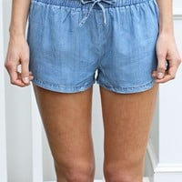 Chambray Track Shorts-Karlie Chambray Shorts-$68.00 | Hand In Pocket Boutique