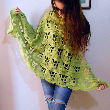 Light Green Crochet Shawl, Japanese fan Lace wedding crochet shawl
