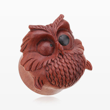 A Pair of Spazzy Owl Organic Sabo Wood Ear Gauge Plug