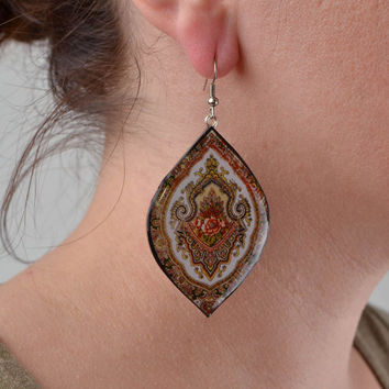 Handmade designer polymer clay dangling earrings with decoupage large ornamented