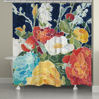 Midnight Floral Shower Curtain