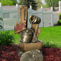 Country Inspired Outdoor Electric Water Fountain w/ LED Lights