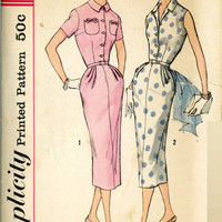 Vintage Retro Wiggle Dress Simplicity 2092 Sewing Pattern 50s Fashion Slim Fit Skirt Bust 34