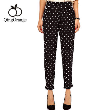 Women Trousers Fashion Casual Black And White Polka Dot Lightweight Mid Waist Cotton Harem Pants