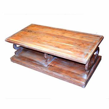 Antique Style Sturdy Wooden Coffee Table, Brown-EN27251