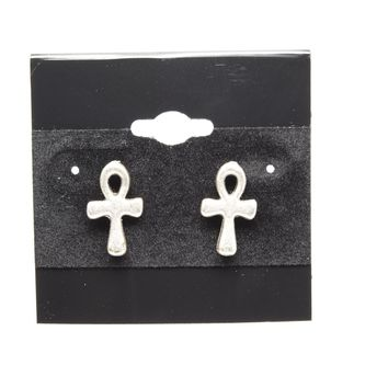 Ankh Silver Plated Stud Fashion Earrings