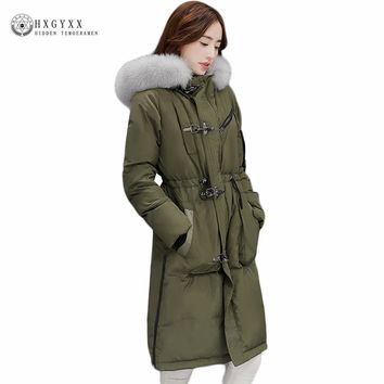 2017 Long White Duck Down Jacket Goose Feather Coat Women Winter Hooded Real Fox Fur Fashion Puffer Military Parka Okb155